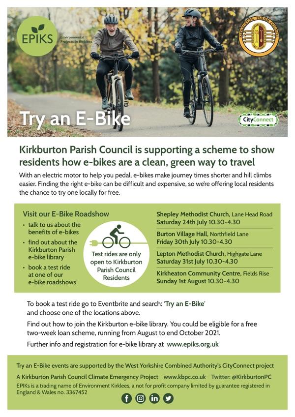Free E- Bike Trials for Residents of Kirkburton Parish Council
